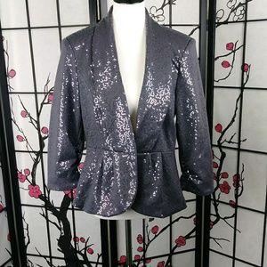 Robert Louis Sequined Peplum Blazer Grey Jacket